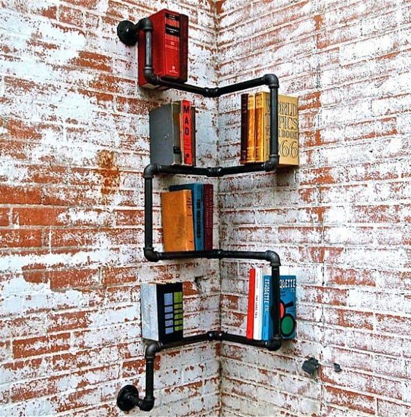 Small Pipe Wall Bookcase Book Stroage Ideas