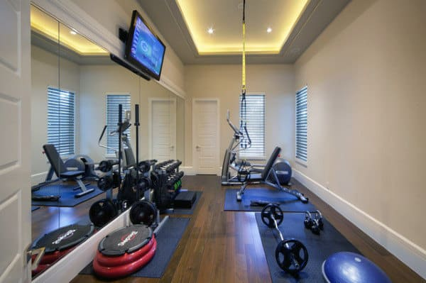 40 personal home gym design ideas for men workout rooms. Black Bedroom Furniture Sets. Home Design Ideas