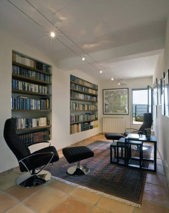 Small Private Home Library With Seating Chairs