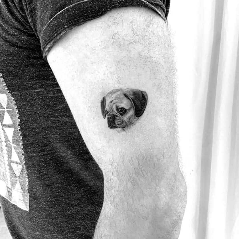 Small Pug Tattoo Monochrometattoo