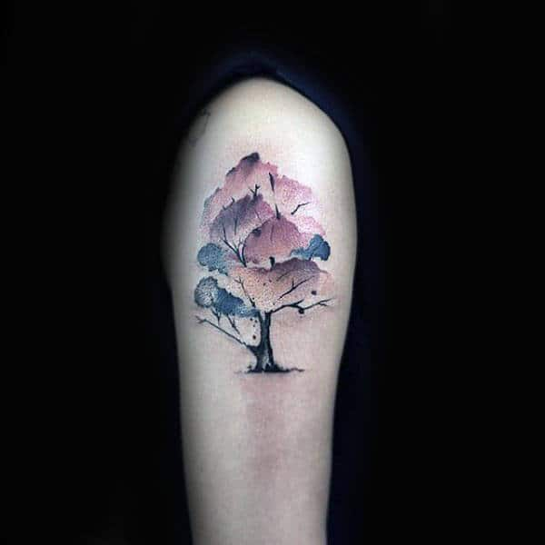 Small Purple Watercolor Tree Tattoo On Arms
