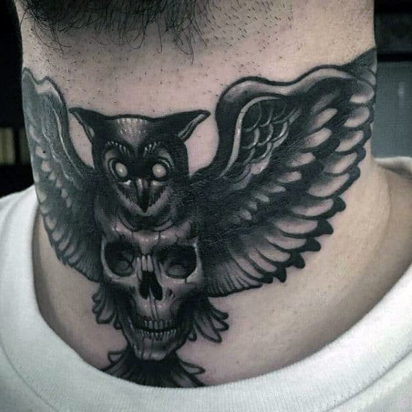 Small Realistic Owl Tattoos For Gentlemen On Neck