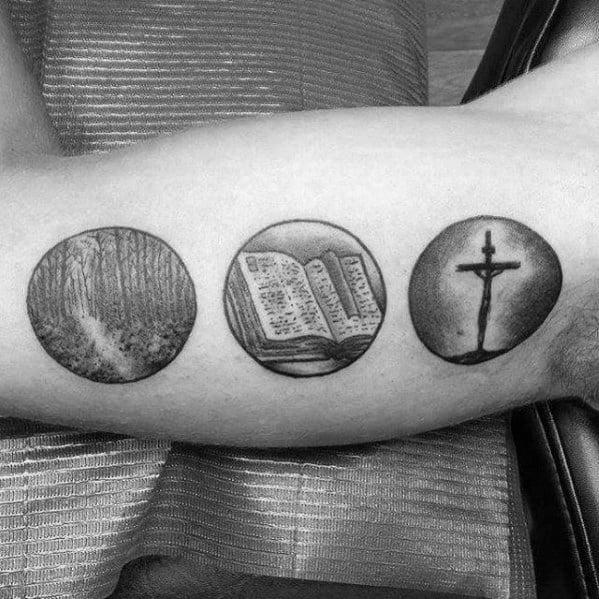 Small Religious Guys Inner Arm Bicep Tattoo Ideas