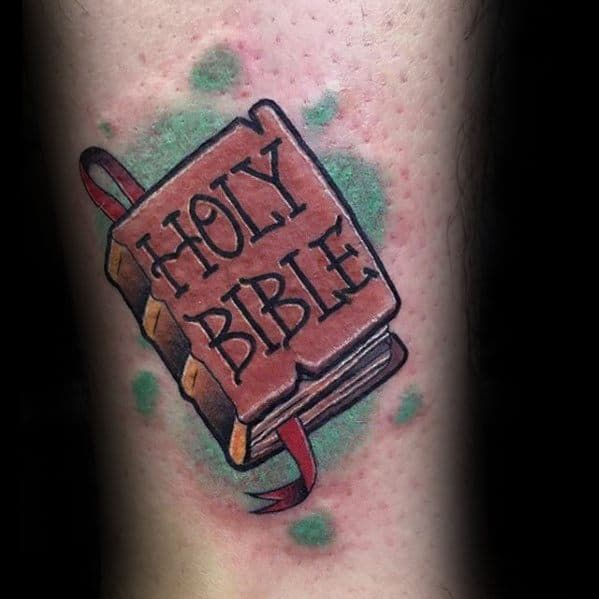 Small Religious Holy Bible Mens Arm Tattoo