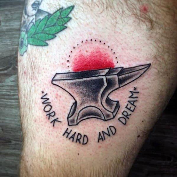 Small Retro Anvil Male Tattoos