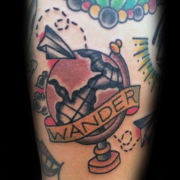 Small Retro Guys Wanderlust Globe Paper Airplane Forearm Tattoo