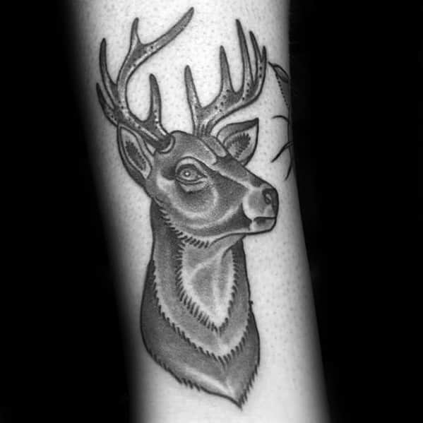 Small Shaded Traditional Deer Forearm Tattoos For Men