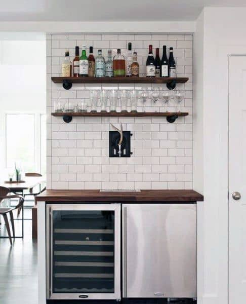 Small Shelves With Double Fridge Mini Bar Ideas