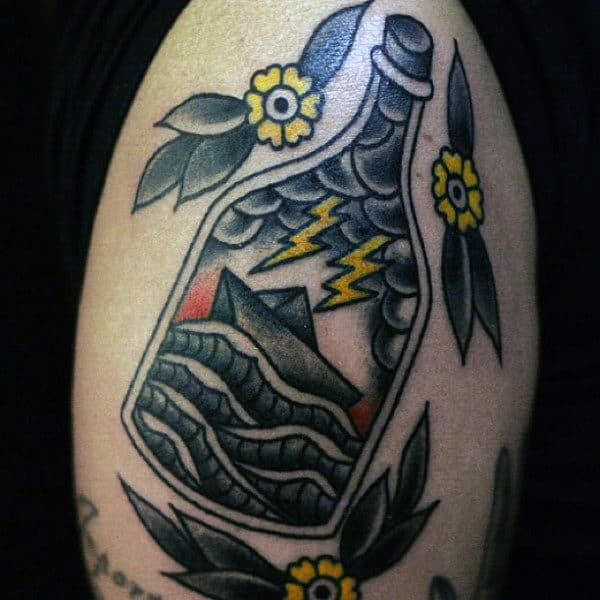 Small Ship In A Bottle Lightning Tattoos Designs For Guys