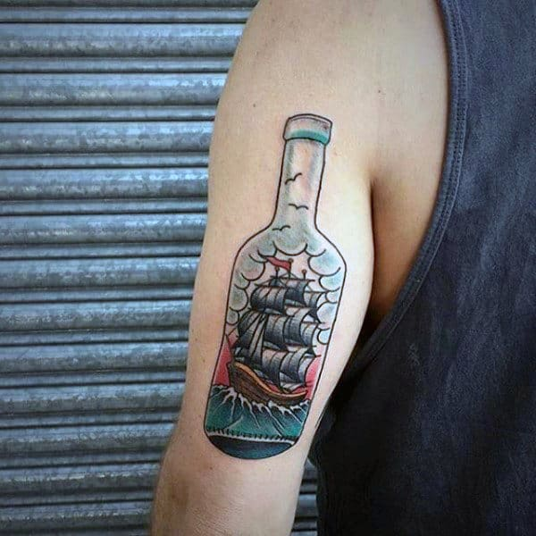 Small Ship In A Bottle Old School Guys Tattoos