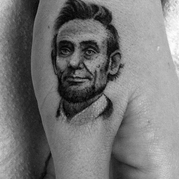 Small Side Of Hand Cool Abraham Lincoln Tattoo Design Ideas For Male