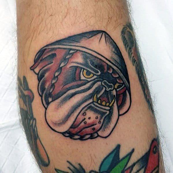 Small Side Of Leg Male Bulldog Head Traditional Tattoos