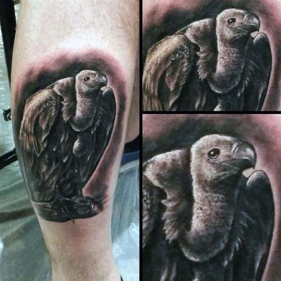 Small Side Of Leg Realistic 3d Vulture Portrait Mens Tattoos