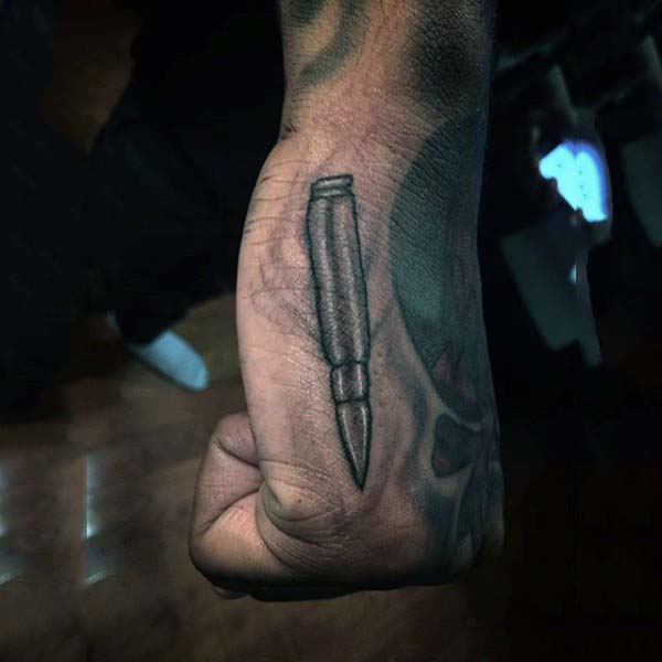 Small Silver Bullet Tattoo On Hand For Men