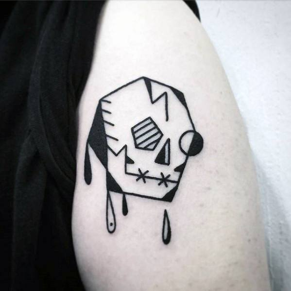 Small Simple Arm Guys Skull Tattoo Design Ideas