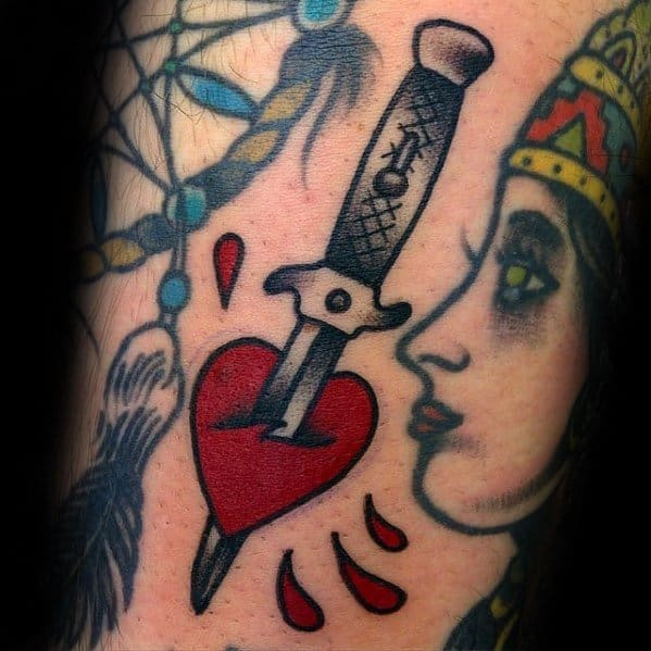 Small Simple Arm Mens Tattoo With Switchblade Design