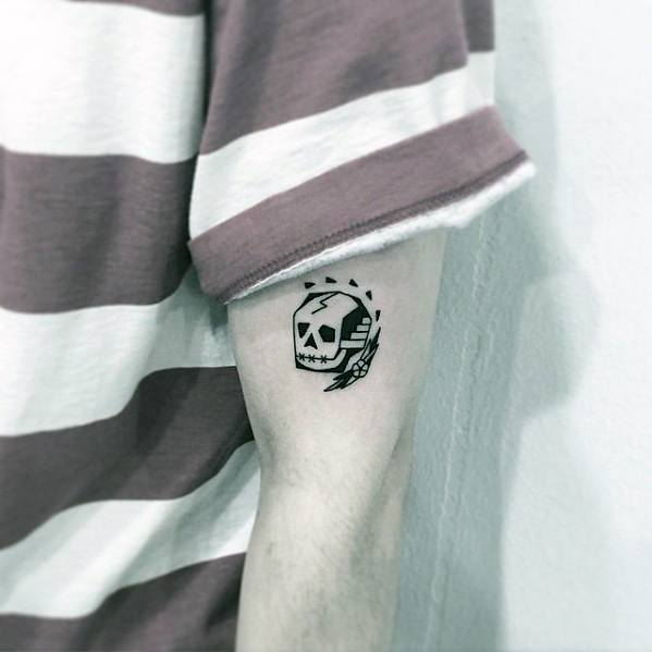 Small Simple Arm Skull Tattoo Designs For Guys