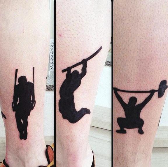 Ideas de diseño de tatuaje en la parte inferior de la pierna para hombre con temática de fitness de tinta negra simple pequeño