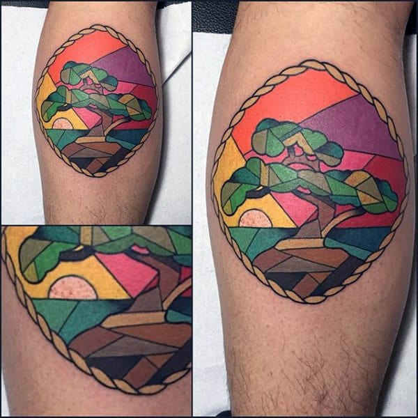Small Simple Bonsai Tree Stained Glass Leg Calf Tattoos For Guys