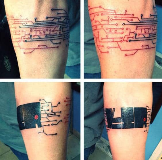 Small Simple Circuit Board Armband Guys Tattoos