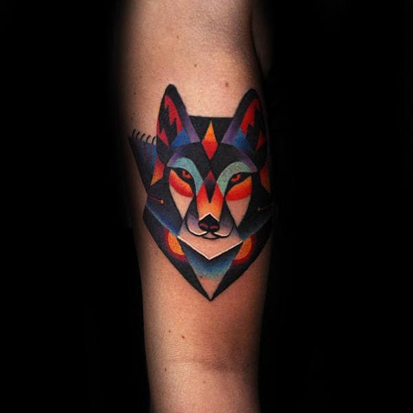 Small Simple Colorful Amazing Guys Forearm Fox Tattoo Ideas