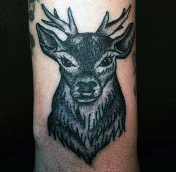 Small Simple Deer Hunter Mens Tattoo