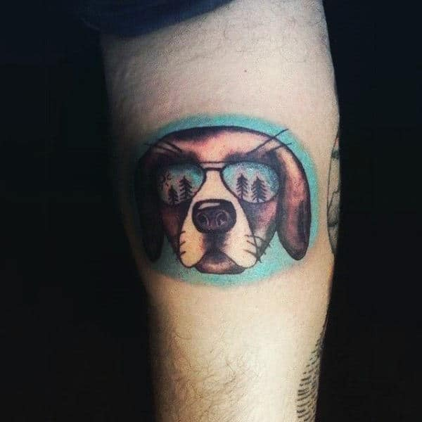 Small Simple Dog With Avaitor Sunglasses Tattoo On Arm