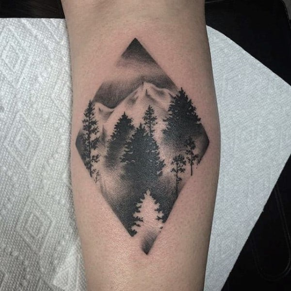 Small Simple Dot Work Forest Tree Mens Forearm Tattoo