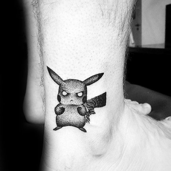 Small Simple Dotwork Pokemon Pikachu Mens Lower Leg Tattoos