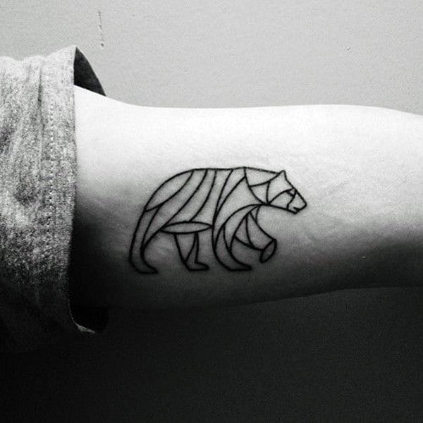 Small Simple Geometric Bear Outline Mens Arm Tattoo