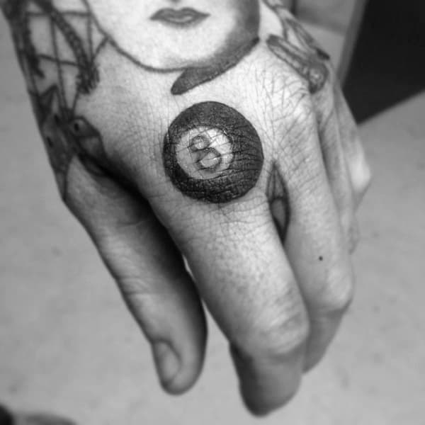 Small Simple Guys 8 Ball Knuckle Tattoos