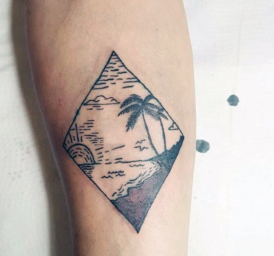 Small Simple Guys Beach Inner Forearm Tattoo Inspiration