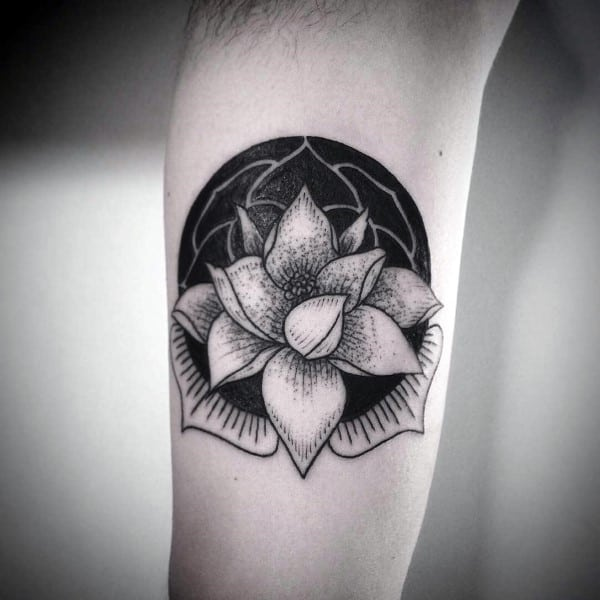 Small Simple Guys Black Ink Lotus Flower Negative Space Arm Tattoo