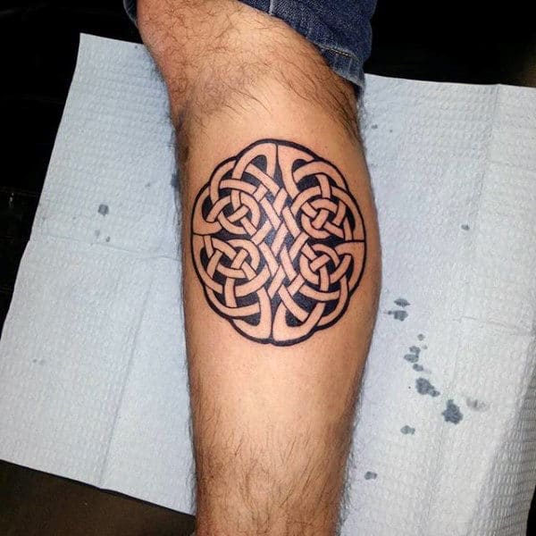 Small Simple Guys Celtic Knot Leg Calf Tattoos
