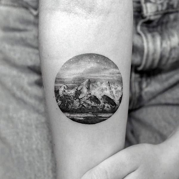 Small Simple Guys Detailed Landscape Inner Forearm Tattoo