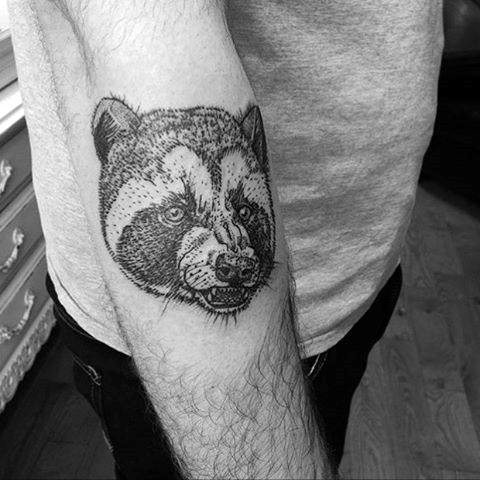 Small Simple Guys Dotwork Forearm Raccoon Head Tattoos