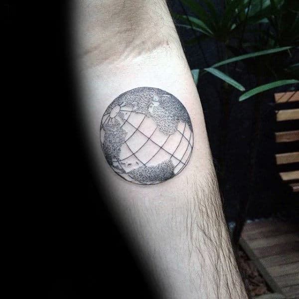 Small Simple Guys Dotwork Lines Globe Inner Forearm Tattoo Designs