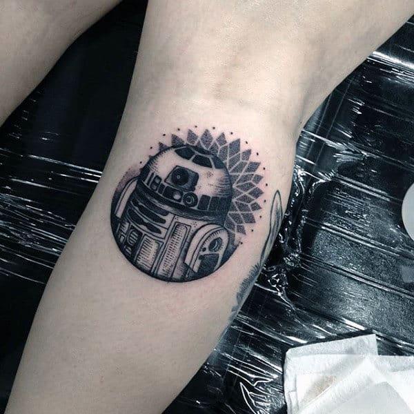 Small Simple Guys Dotwork Rd2d Leg Calf Tattoo Ideas