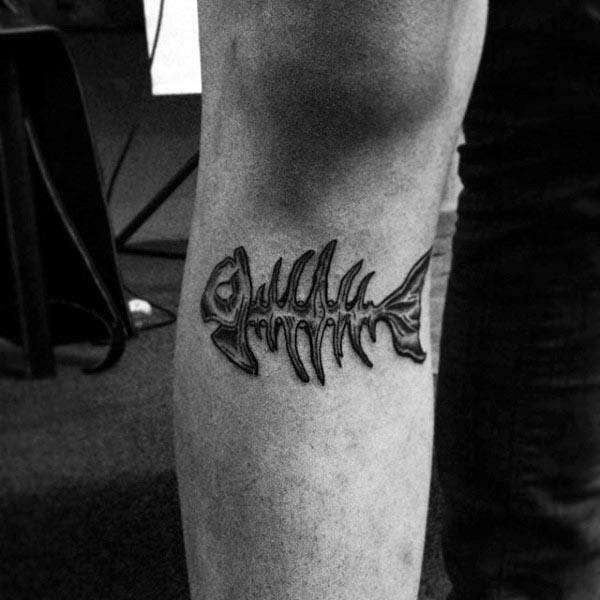 Small Simple Guys Fish Bone Leg Tattoo Ideas