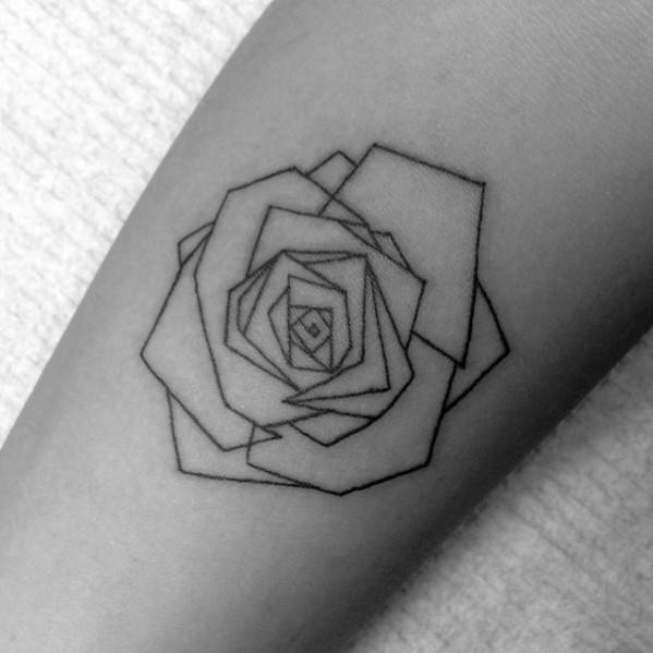 Small Simple Guys Geometric Rose Forearm Tattoo Ideas