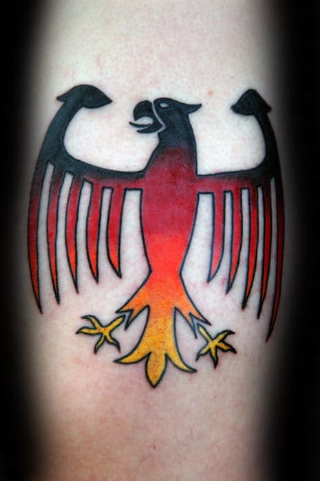 Small Simple Guys German Eagle Shaded Tattoo On Forearm