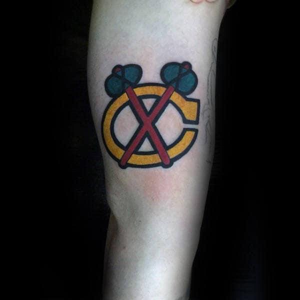 Small Simple Guys Hockey Blackhawks Tattoo On Inner Forearms