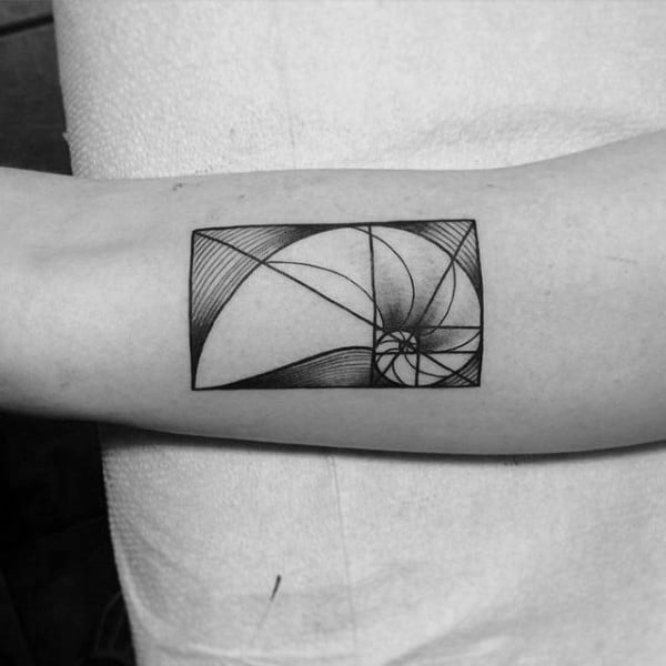 Small Simple Guys Inner Forearm Tattoo Of Fibonacci Spiral