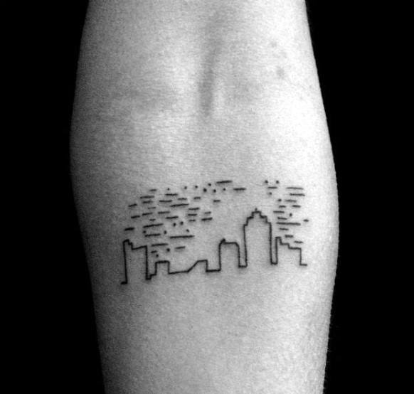 Small Simple Guys Minimalist Building Skyline Tattoo