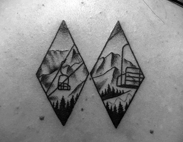 Small Simple Guys Skiing Double Diamond Tattoo On Back
