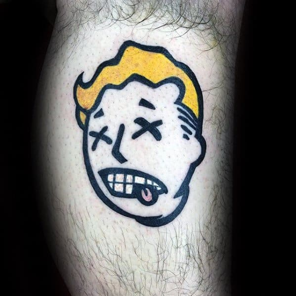Small Simple Head Leg Fallout Guys Tattoo Designs