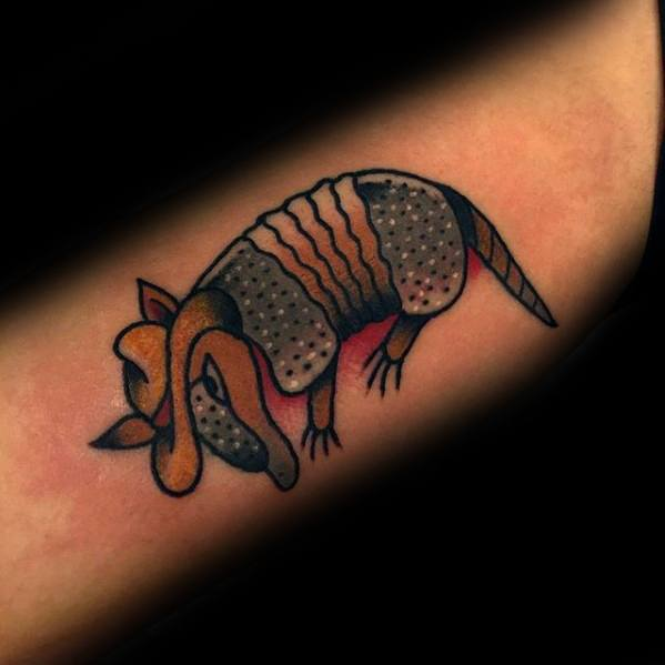 Small Simple Inner Forearm Armadillo Male Tattoos