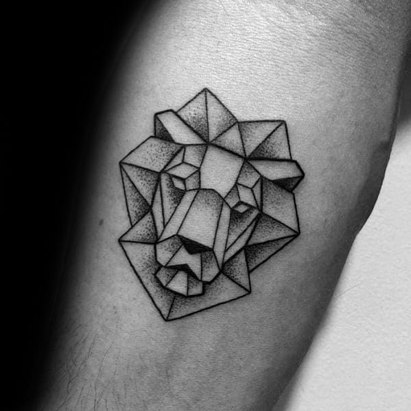 Small Simple Inner Forearm Geometric Lion Tattoos For Gentlemen