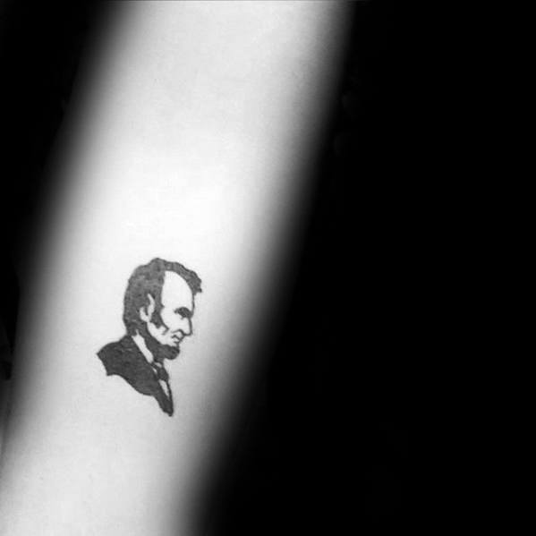 Small Simple Inner Forearm Masculine Abraham Lincoln Tattoos For Men