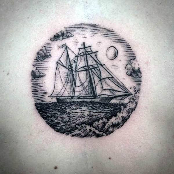 Small Simple Lines Sailboat Tattoo For Guys On Chest